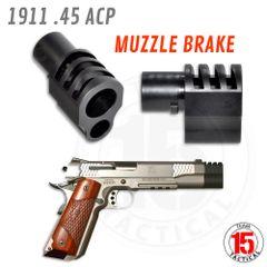 "Muzzle Brake for 1911 5"" Government Barrels & Exact variants. Replaces barrel bushing. Black."
