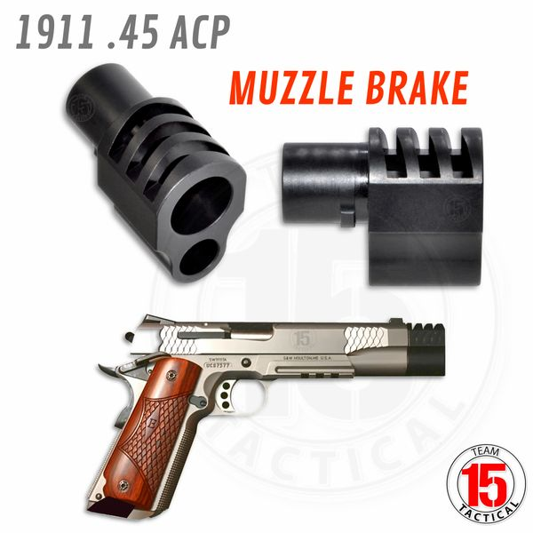 1911 .45 acp Mil-Spec Muzzle Brake Recoil Compensator (Barrel Bushing type), Steel, BLACK