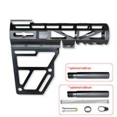 Skeletonized Pistol Brace for AR-15 - Black / Red / Blue / Silver / Gold - Optional Pistol Buffer Tube or Buffer Tube Kit