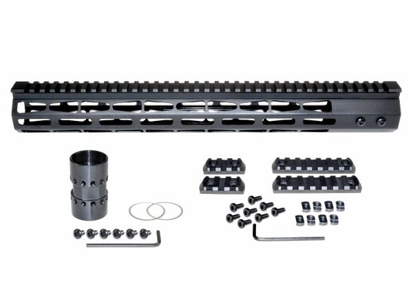 "15"" M-LOK Free Float Handguard for AR-15, ID 1.44"", 14oz, fits 223 / 5.56, Black"
