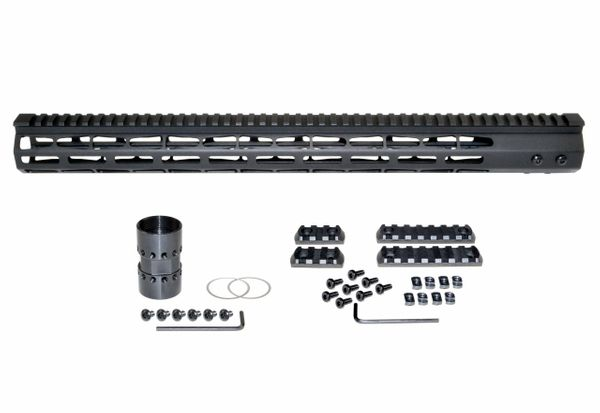 "19"" M-LOK Free Float Handguard for AR-15, ID 1.44"", 17oz, fits 223 / 5.56, Black"