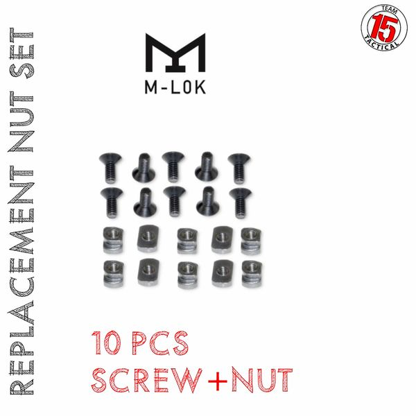 M-LOK Replacement / Spare Nut & Screw Set - 10 PACK