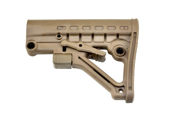 AR-15 Comm Spec Commercial Adjustable Buttstock with QD Sling Swivel Mount Adaptor - TAN