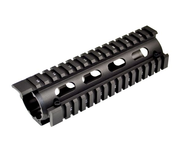 """6.7"""" Carbine Length 2 Piece Drop In Handguard Quad Rail with Extended Top Rail for AR15, .223"""