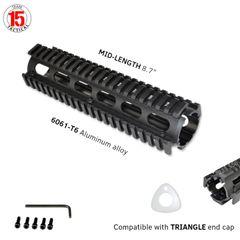 "8.75"" Mid Length 8.75 INCH 2 Piece Drop-In Quad Rail Handguard Mount for AR15 .223 - Aluminum - Black"