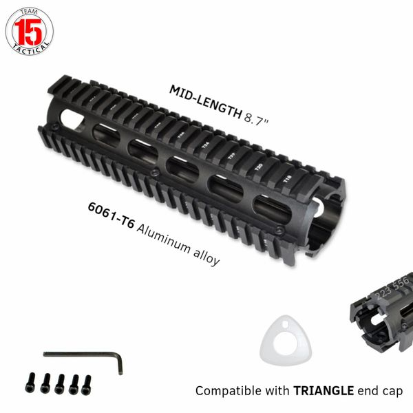 "8.75"" Mid Length 8.75 INCH 2 Piece Drop-In Quad Rail Handguard Mount for AR15 .223 - Aluminum - Black"