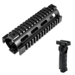 "6.7"" Carbine Length 6.7 INCH 2pc Drop In Handguard Quad Rail for AR15, .223 with GP02 Grip - Aluminum / Polymer - Black"