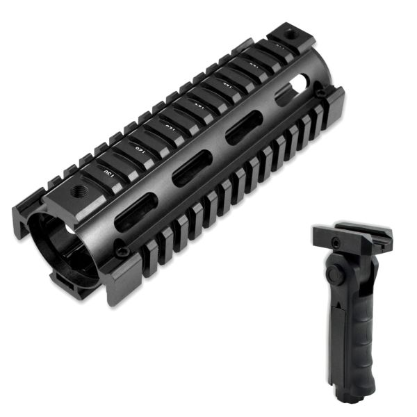 "6.7"" Carbine Length 6.7 INCH 2pc Drop In Handguard Quad Rail for AR15, .223 with GP02 Grip - Aluminum / Polymer - Black"