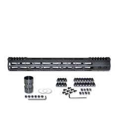 "15"" M-LOK Split Top Rail Free Float Handguard for AR-15, ID 1.44"", 14oz, fits 223 / 5.56, Black"