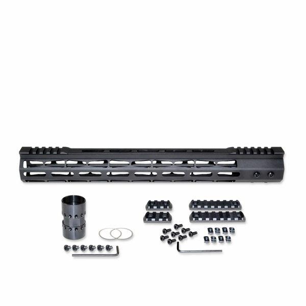 """15"""" M-LOK Split Top Rail Free Float Handguard for AR-15, ID 1.44"""", 14oz, fits 223 / 5.56, Black"""