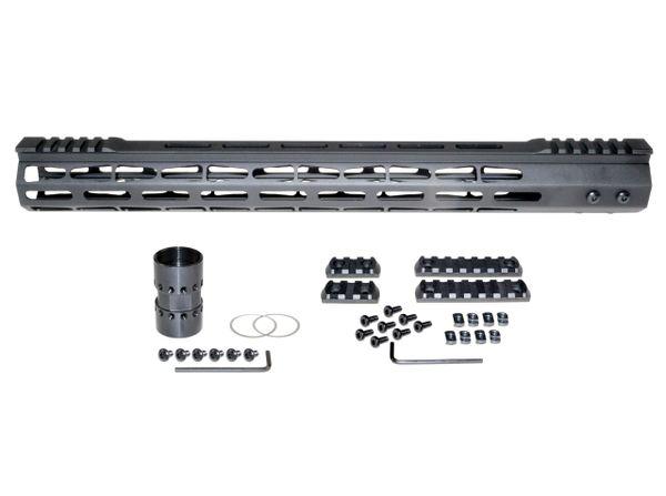 """17"""" M-LOK Split Top Rail Free Float Handguard for AR-15, ID 1.44"""", 14.8oz, fits 223 / 5.56, Black"""