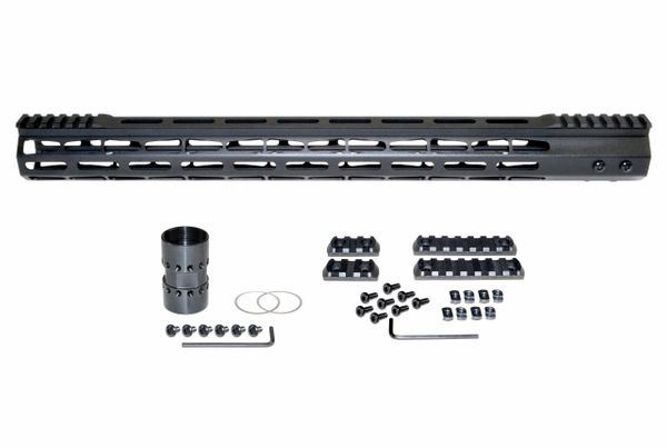 "19"" M-LOK Split Top Rail Free Float Handguard for AR-15, ID 1.44"", 16oz, fits 223 / 5.56, Black"