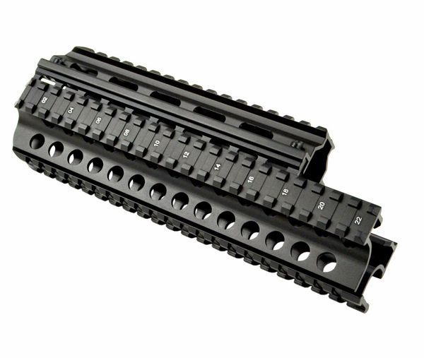 Saiga AK Rifle 7.62x39 2 Piece Handguard Quad Rail - Aluminum - Black
