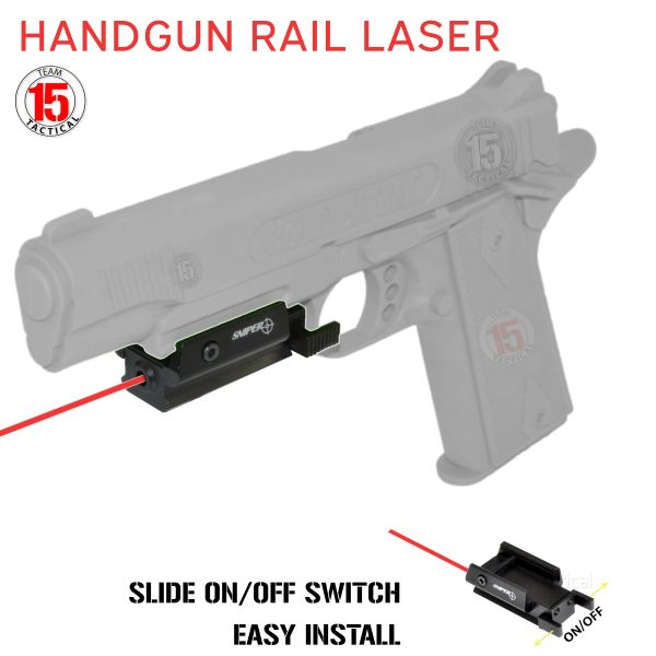 Red Laser for Handgun Pistol Rail, Sliding ON/OFF - Battery included