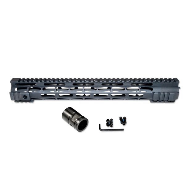 "15"" Presma LR-308 .308 DPMS LOW Profile - M-LOK Free Float Handguard Rail Mount with Steel Barrel Nut"