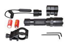 Tac Light Flashlight LED 260 Lumen Waterproof w Remote, Hi / Low / Strobe Beam for Picatinny Handguard Mount