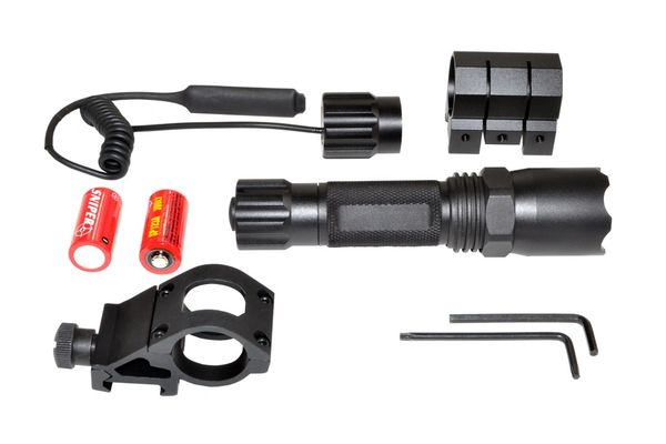 Tac Light Flashlight LED 260 Lumen Waterproof w Remote, Hi / Low / Strobe Beam for Picatinny Handguard Mount