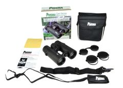 PRESMA 10x34 Roof Prism Binoculars w/ Clear Glass, Carry Case, Caps, Straps