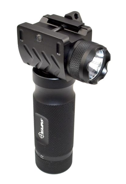 AR15 Foregrip Grip with integrated Flashlight, 1 piece - Fixed Vertical, Aluminum - Black (GPFL01)
