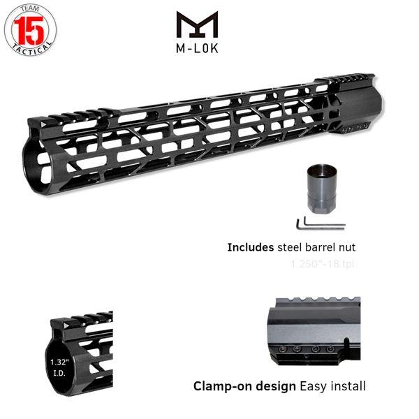 """15"""" M-LOK Split Top Rail Free Float Handguard for AR-15, ID 1.32"""", 12.2 oz, fits 223 / 5.56, Black"""