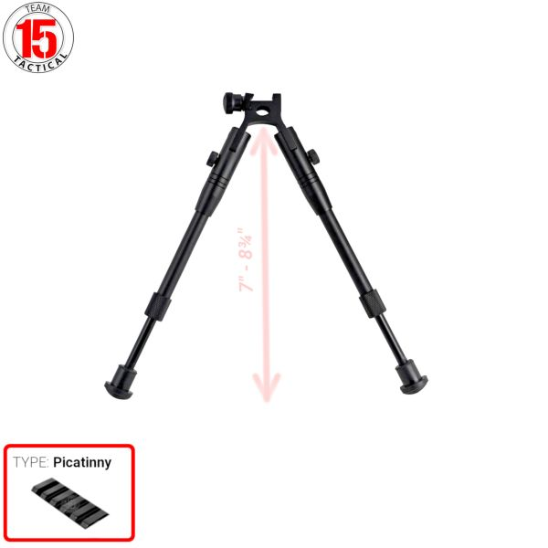 "Bipod for Picatinny Handguard Rail, Aluminum, Folding, Height Adjustable 7"" to 8.25"" (BP03)"