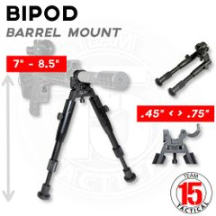 "Barrel Clamp Bipod, Aluminum, Folding fits 0.45"" to 0.750"" Barrels, Height Adjustable 7"" to 8.25"" (BP04)"