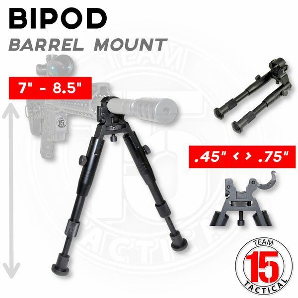 "AR-15 Barrel Clamp Bipod, Aluminum, Folding fits 0.45"" to 0.750"" Barrels, Height Adjustable 7"" to 8.25"" (BP04)"