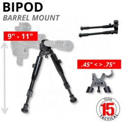 "Tall Barrel Clamp Bipod for 0.450"" to 0.750"" Barrels, Aluminum, Folding, Height Adjustable 9.75"" to 12"" (BP06)"