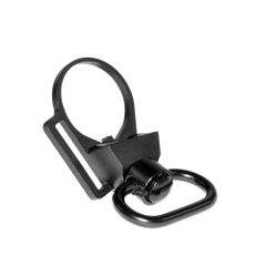 """Receiver End Plate with 45 degree hole + 1"""" Sling Swivel Adapter Button, Black"""