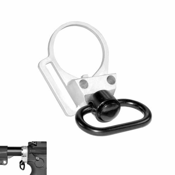 "Silver Receiver End Plate with 45 degree hole + 1"" Sling Swivel Adapter Button, Black"