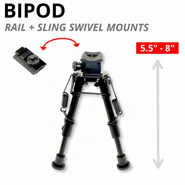 "Sling Stud Bipod / Picatinny Bipod, Aluminum, Folding, Height Adjustable 5.5"" to 8"" (BP07)"
