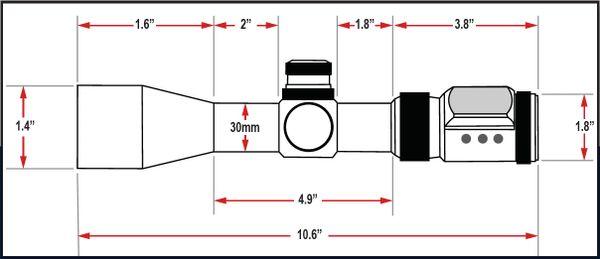 Presma SP Solar Powered Series 1-6X28 Precision Scope, OGB RXR Glass Reticle