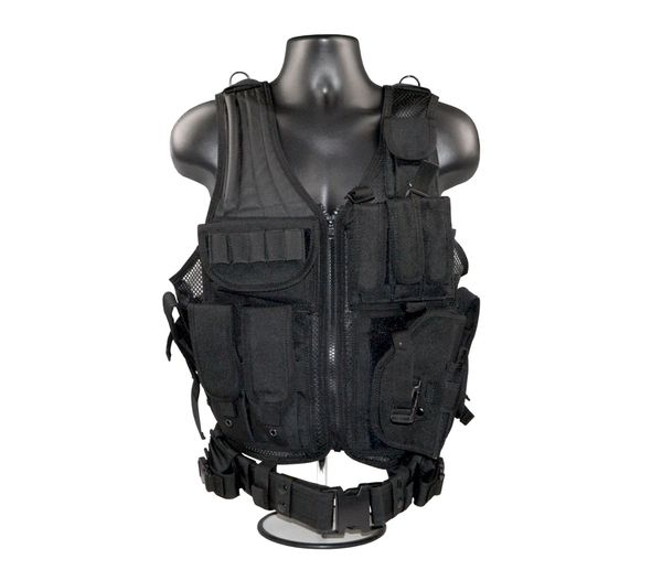 Tactical Multi Function Molle Plate Hunting Vest, Black