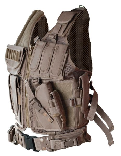 Tactical Multi Functions Molle Plate Hunting Vest, Tan