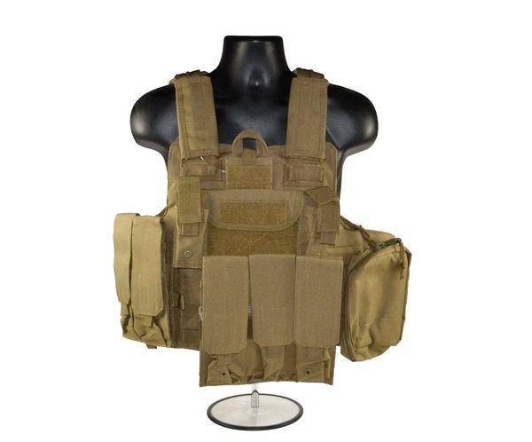 600D Cross Draw Tactical Multi Function Vest, Tan