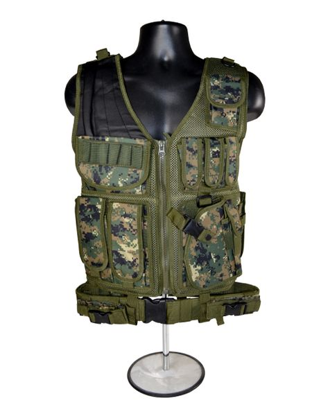 Tactical Multi Function Molle Plate Vest for Hunting, Digital Green Camouflage
