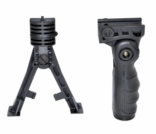 AR15 Foregrip Grip with Bipod Accessory, 5 Position Adjustable Grip, Polymer - Black (GP08) with Bipod Plug-in (BP10)