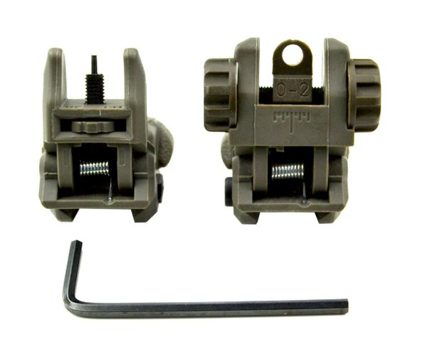 AR Front And Rear Flip Up Backup Sight Combo Set - Polymer - Green