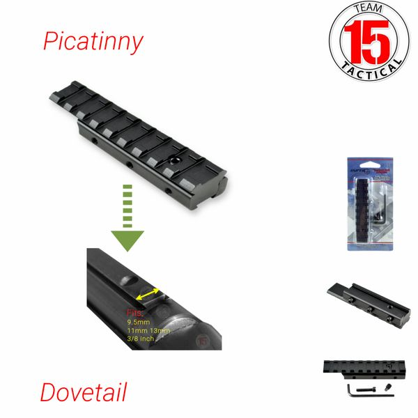 Dovetail .22 to Picatinny Scope Mount Rail Adaptor