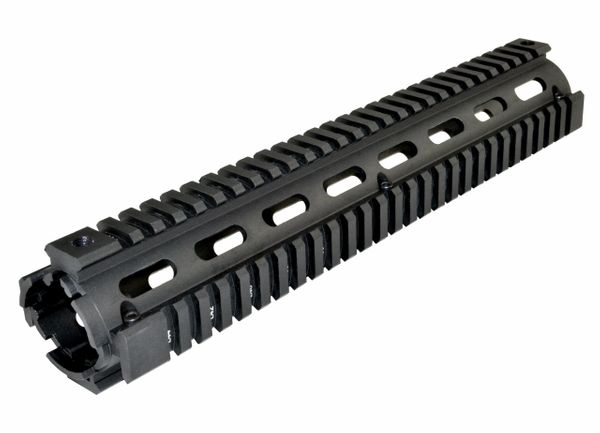 "12"" Rifle Length 12 INCH 2 Piece Drop-In Quad Rail Handguard Mount for AR15 .223 - For Triangular shaped Handguard End Cap - Aluminum - Black"