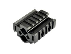 5 Slot Barrel Mount Tri Rail (total 15 slots) for Diameter .51?-.78? - Aluminum - Black