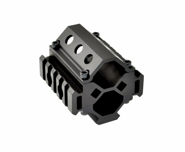 5 Slot Barrel Mount Tri Rail (total Picatinny 15 slots) for Diameter .51?-.78? - Fits AR15 - Aluminum - Black