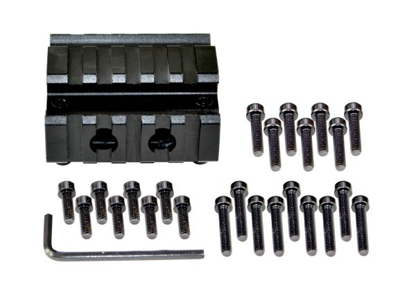 "5 Slot Barrel Mount Tri Rail (total 15 slots) for Diameter .51"" TO .78"" including AR-15 .750"""
