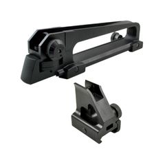 AR15 A2 style Carry Handle Set with Front Backup Sight Post - Aluminum - Black
