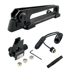 AR15 style Carry Handle Set with Front Backup Sight Post (High Profile) with Red Laser plus Sight Adjustment Tool Set (A1/A2)