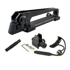 AR 15 A2 Carry Handle Set with Front Backup Sight Post (Low Profile) with Red Laser plus Sight Adjustment Tool Set (A1/A2)