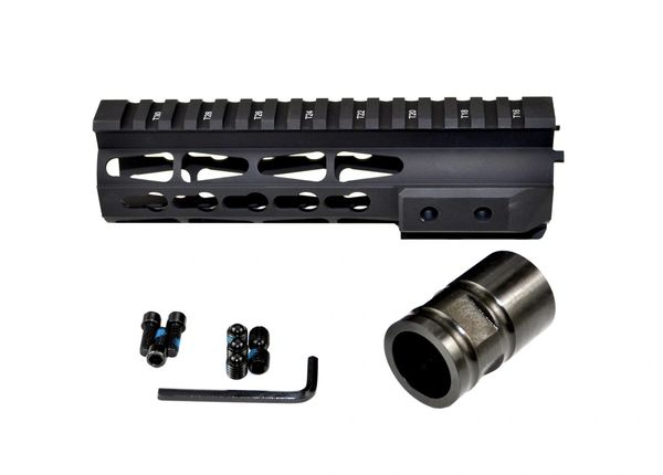 "7"" Presma KeyMod Slim Free Float Handguard Rail with Barrel Nut for .223 AR-15 - Black"