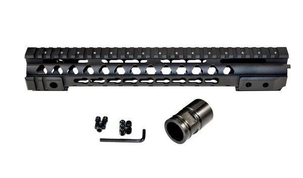 "12"" KeyMod Free Float Handguard Quad Rail Mount for .223 / 5.56 AR-15 - Black"