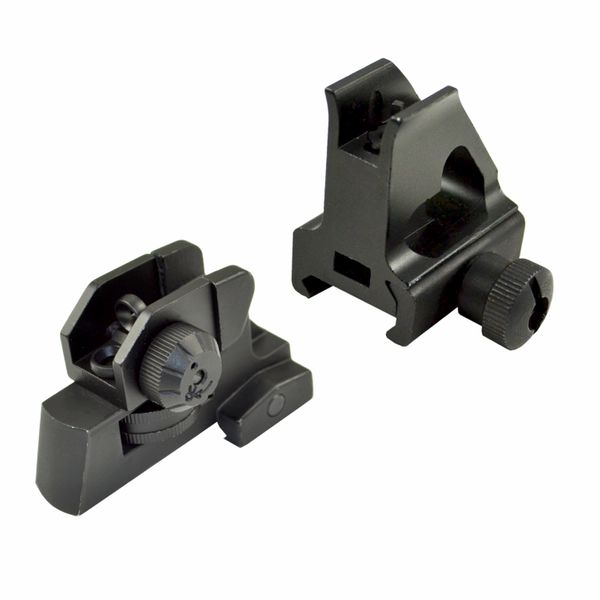 Front and Rear Low Profile Backup Sight Set - BUIS For Mounting on AR15 style Flat Top / High Profile Gas Block
