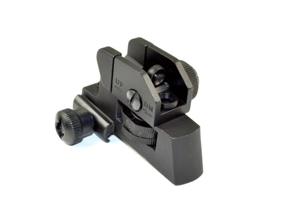 A2 Dual Aperture Rear Backup Sight for AR15- Aluminum - Black